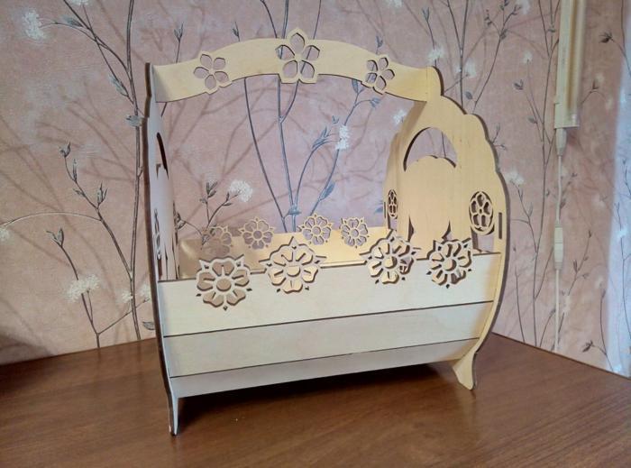 Laser Cut Decorative Bunny Basket Free CDR Vectors Art