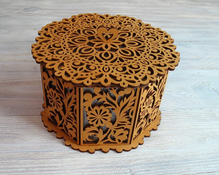 Laser Cut Decorative Basket With Lid Octagon Free CDR Vectors Art