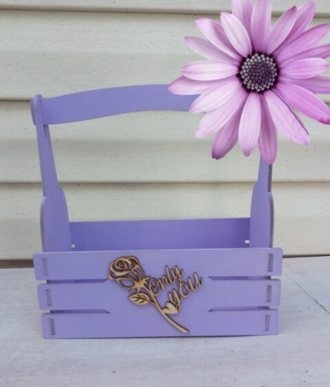 Laser Cut Wooden Decor Basket With Rose Free CDR Vectors Art
