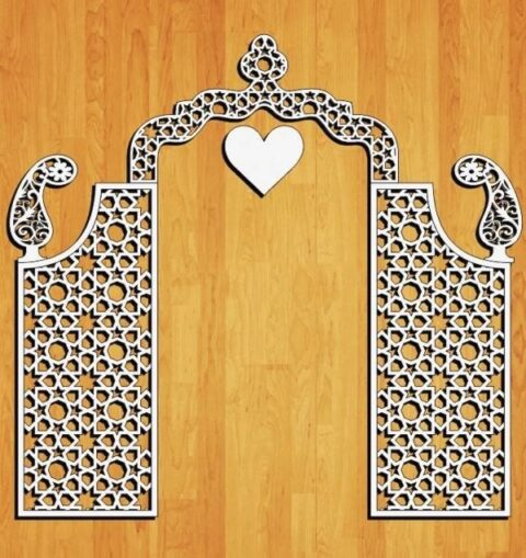 Laser Cut Decorative Wedding Screen Free CDR Vectors Art