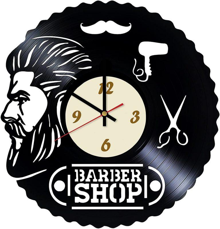 Laser Cut Barbershop Design Vinyl Wall Clock Free CDR Vectors Art