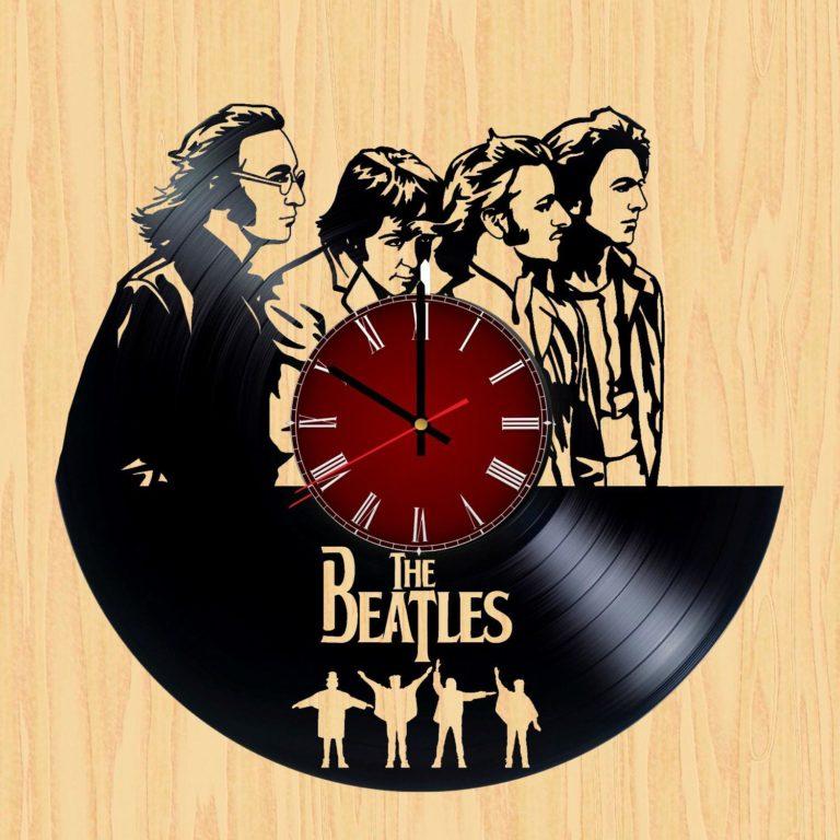 Laser Cut Beatles Vinyl Record Wall Clock Template Free CDR Vectors Art