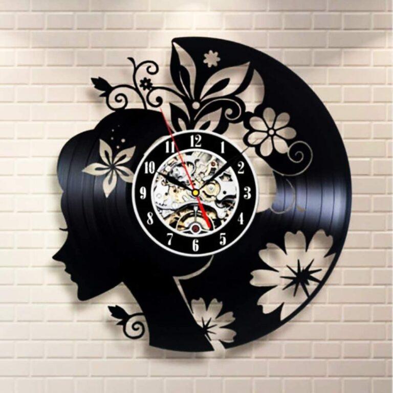 Laser Cut Flowers Girl Vinyl Record Wall Clock Free CDR Vectors Art