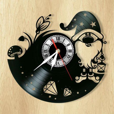 Laser Cut Gnome Wall Clock Vinyl Record Clock Free CDR Vectors Art