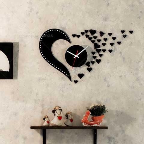 Laser Cut Love Design Flying Hearts Wall Clock Free CDR Vectors Art