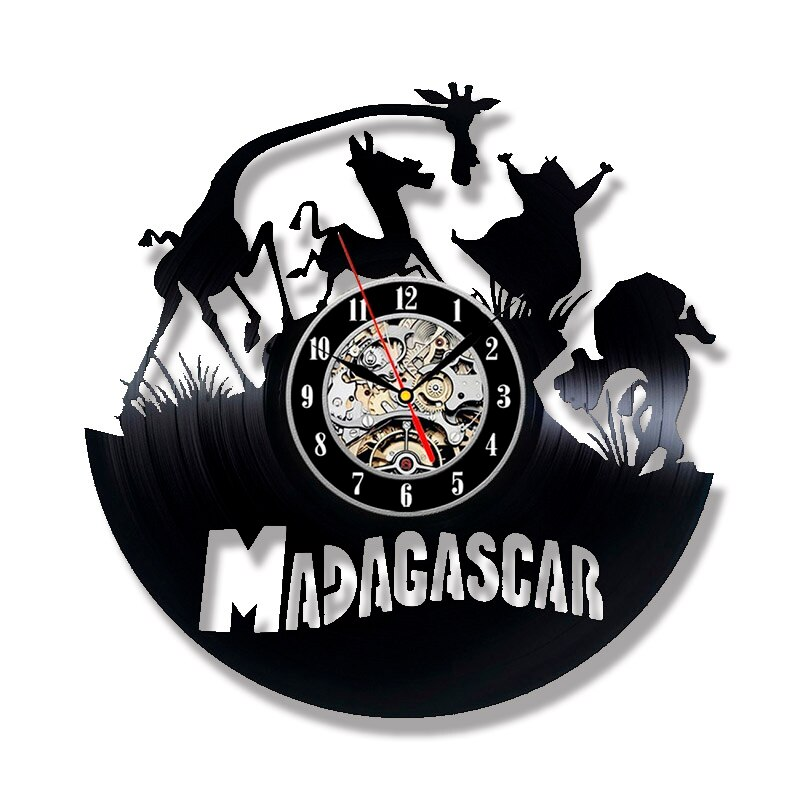 Laser Cut Madagascar Theme Vinyl Record Wall Clock Free CDR Vectors Art