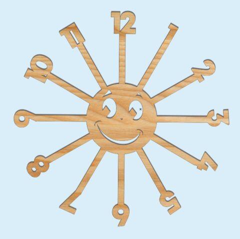 Laser Cut Sun Kids Room Wall Clock Free CDR Vectors Art