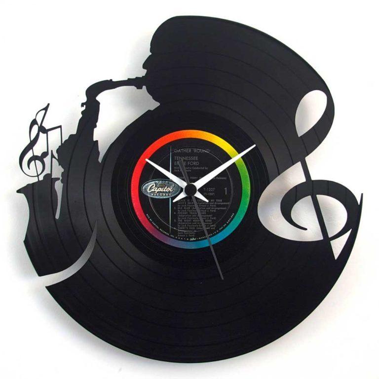 Laser Cut Jazz Clock Vintage Music Clock Saxophonist Clock Vinyl Clock Laser Cut Template Free CDR Vectors Art