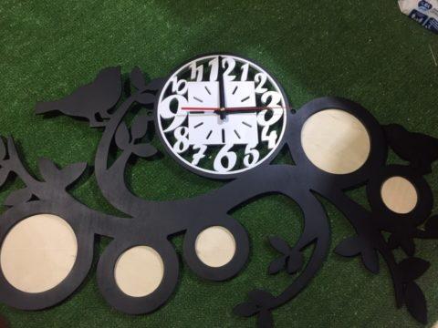 Laser Cut Wooden Wall Clock With Photo Frames Free CDR Vectors Art