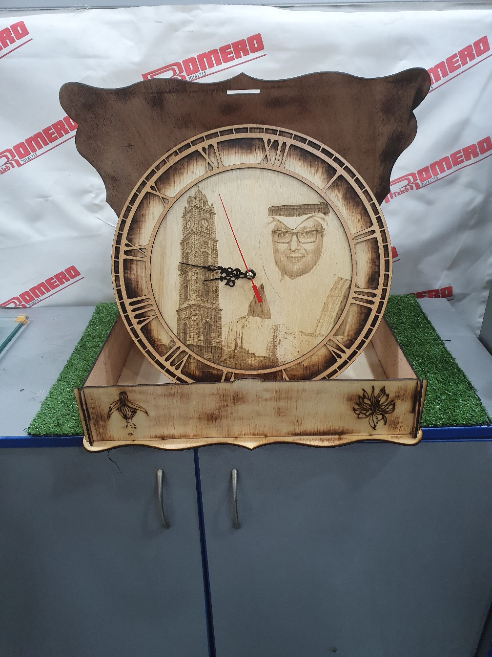 Laser Cut Wooden Wall Clock With Roman Dial Free AI File