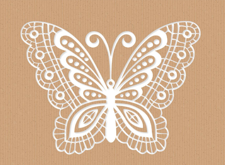 Creative Recycled Paper Card With Laser Cut Mariposa Or Butterfly Free AI File