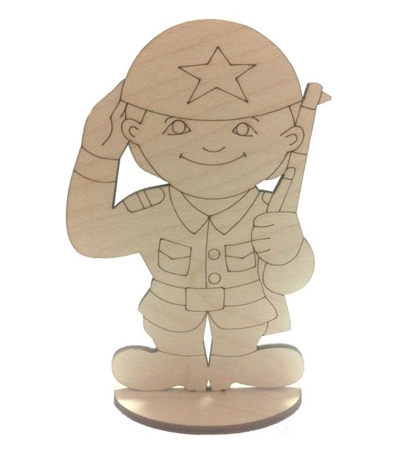 Laser Cut Toy Soldier Stand Up Decoration Free CDR Vectors Art