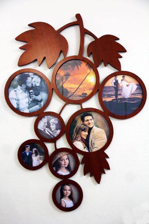 Laser Cut Grape Picture Frame Free CDR Vectors Art
