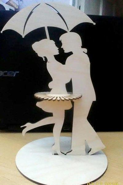 Laser Cut Dancing Couple Napkin Holder Free CDR Vectors Art