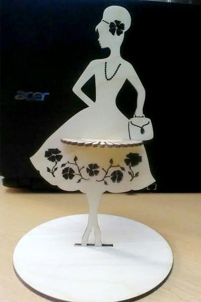Laser Cut Fashion Lady Napkin Holder Free CDR Vectors Art