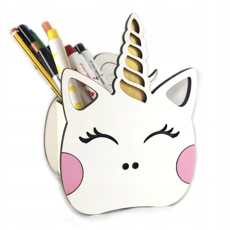 Laser Cut Unicorn Pen Holder Free CDR Vectors Art