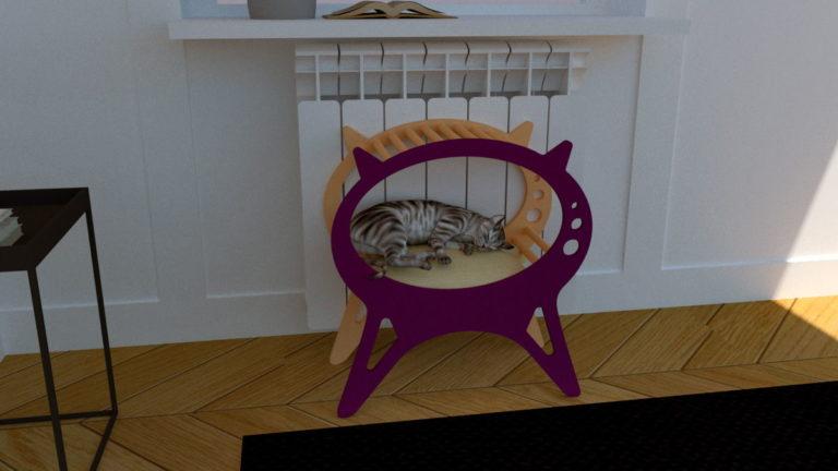 Laser Cut Kitten House Cat Bed Pet House Free CDR Vectors Art