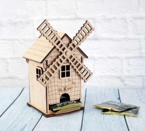 Laser Cut Mill Shaped Tea House Tea Bag Storage Free CDR Vectors Art