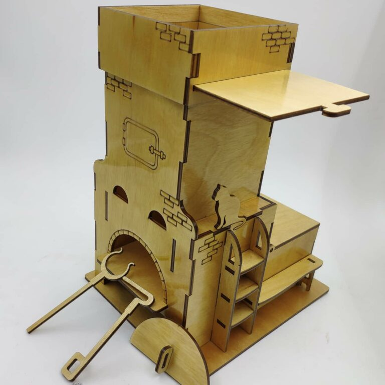 Laser Cut Wood Stove Shape Tea House Free CDR Vectors Art
