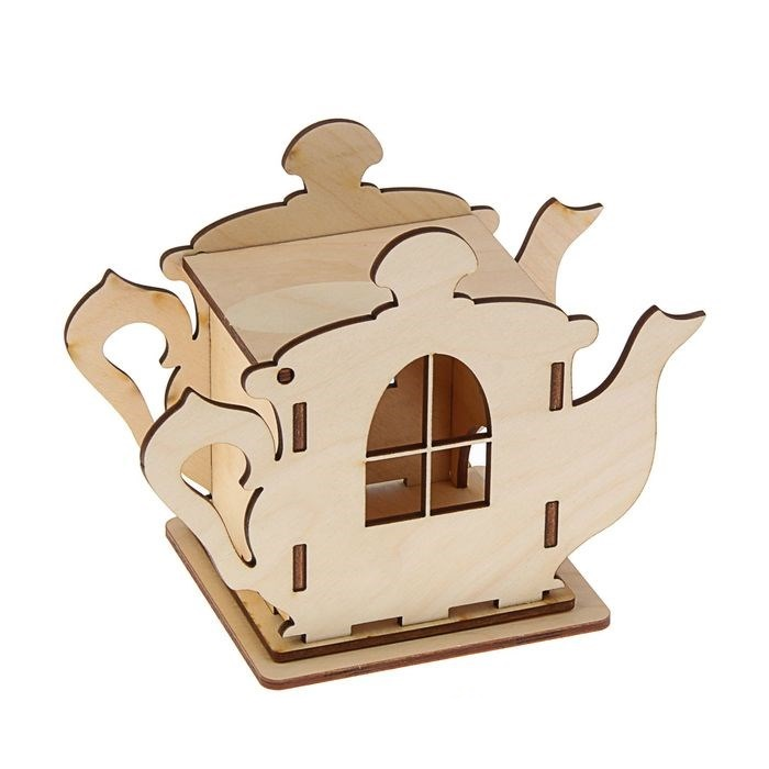 Laser Cut Wooden Teapot Shaped Tea House Tea Bag Dispenser Free CDR Vectors Art