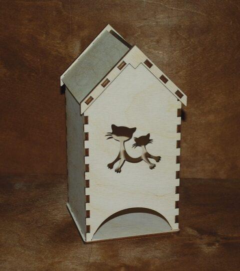 Laser Cut Wooden Tea House Tea Bag Dispenser Free CDR Vectors Art