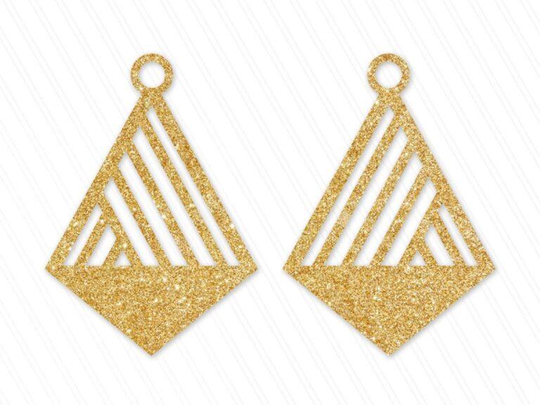 Laser Cut Geometric Cross Shaped Earring Design Free CDR Vectors Art