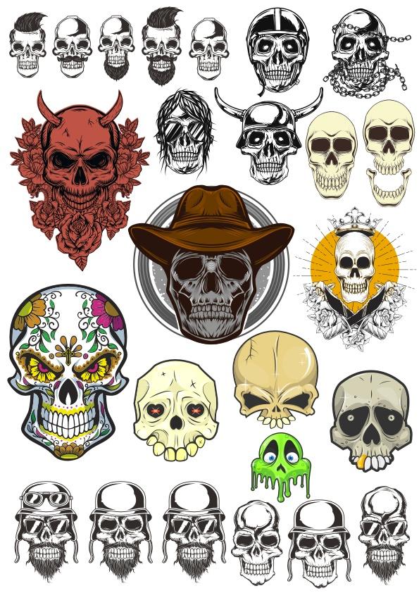 Horror Skull Collection Set Free CDR Vectors Art