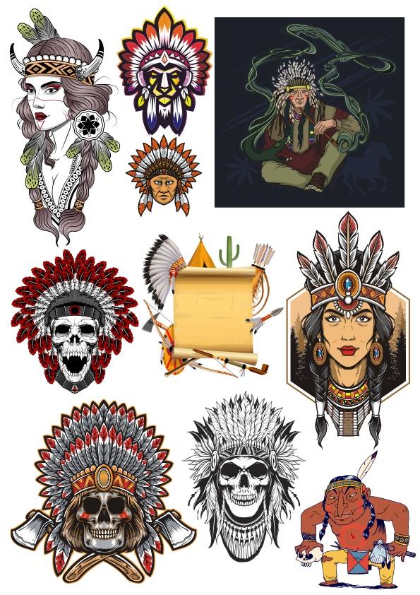 Indian Skull Set Free CDR Vectors Art
