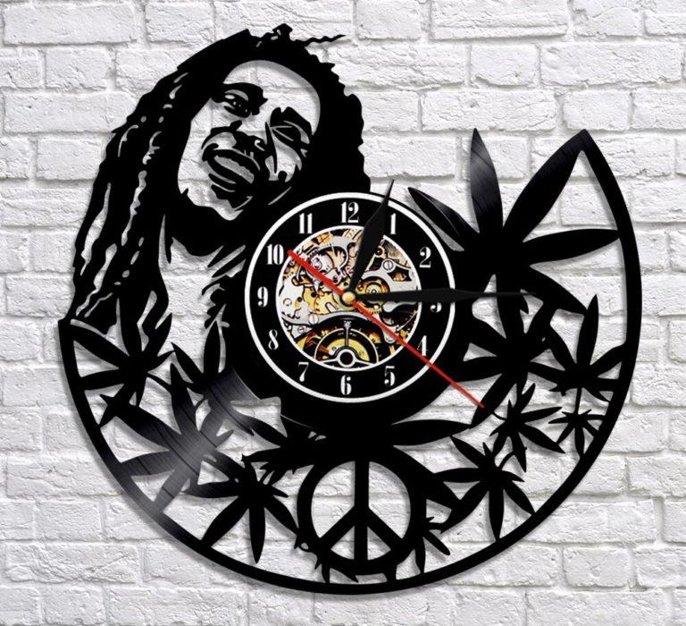 Laser Cut Bob Marley Vinyl Record Clock Template Free CDR Vectors Art
