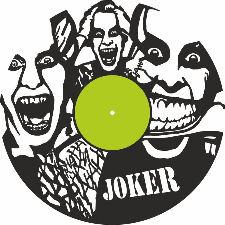Laser Cut Joker Vinyl Record Wall Clock Template Free CDR Vectors Art