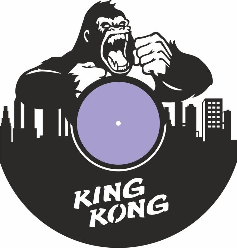 Laser Cut King Kong Vinyl Record Wall Clock Free CDR Vectors Art