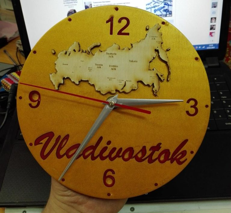 Laser Cut Wall Clock With Russia Map Template Free CDR Vectors Art