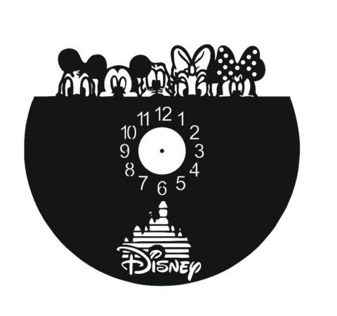 Laser Cut Walt Disney Vinyl Clock Template Free CDR Vectors Art