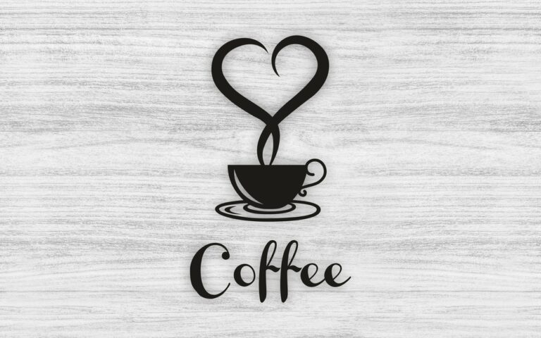 Coffee Cup With Heart Wall Art Free CDR Vectors Art