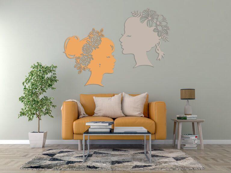 Laser Cut Flower Lady Wall Art Decal Free CDR Vectors Art