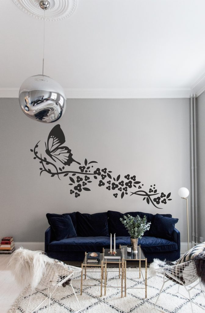 Laser Cut Wall Art Butterfly With Flowers Free CDR Vectors Art