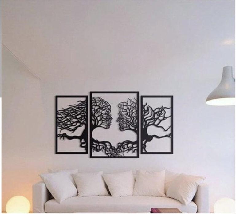 Laser Cut Wall Art Tree Couple Face Shape Free CDR Vectors Art