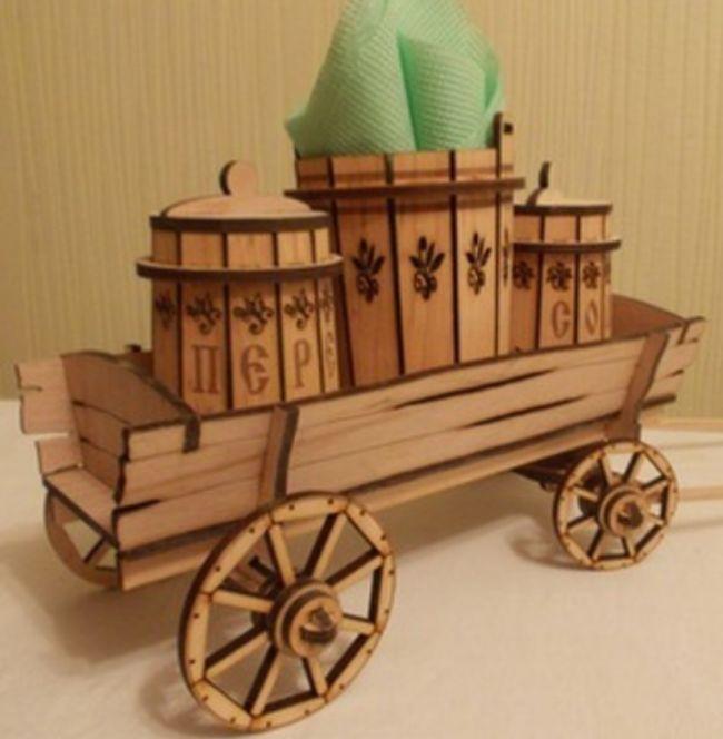 Laser Cut Cart Salt And Pepper Shaker Holder Stand With Napkin Holder Free CDR Vectors Art