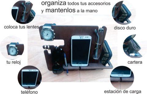 Laser Cut Phone Docking Station Glasses Holder Wallet Stand Watch Organizer Men Gift Free CDR Vectors Art