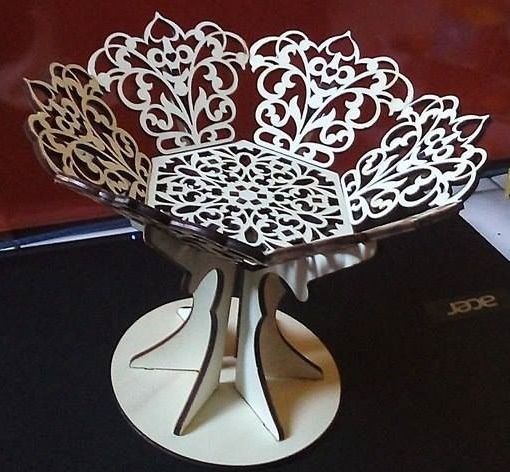 Laser Cut Wooden Fruit Bowl Candy Basket With Stand Free CDR Vectors Art