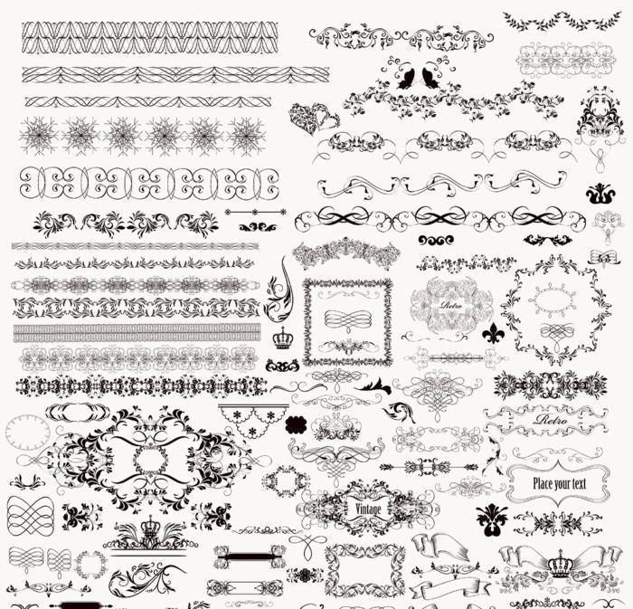 Floral Decorative Ornaments Free AI File