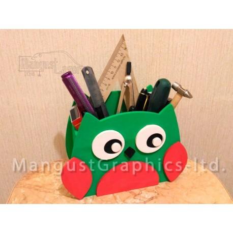 Laser Cut Owl Organizer Pen Holder Free CDR Vectors Art