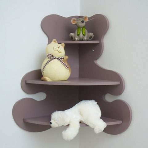 Bear Shaped Corner Shelf For Kids Room Laser Cut Free CDR Vectors Art