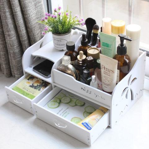 Laser Cut Cosmetic Storage Box Cosmetic Box Shelf Free CDR Vectors Art