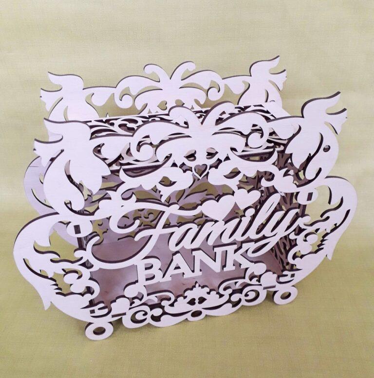 Laser Cut Decor Family Bank Money Box Piggy Bank Free CDR Vectors Art