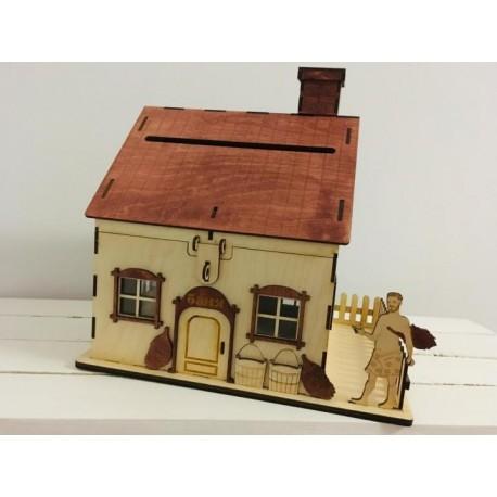 Laser Cut Piggy Bank House Coin Bank Saving Box Free CDR Vectors Art