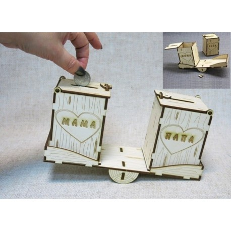Laser Cut Piggy Bank Mom Dad Template Free CDR Vectors Art