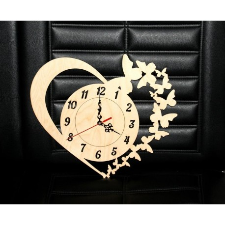 Laser Cut Clock With Heart And Butterflies Free CDR Vectors Art