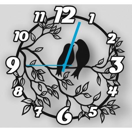 Laser Cut Floral Bird Clock Free CDR Vectors Art