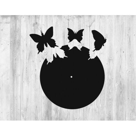 Laser Cut Wall Clock Template With Butterflies Free CDR Vectors Art